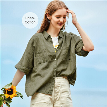 Linen-cotton loose cargo shirt