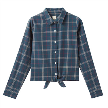 Flannel lace-up at hem shirt