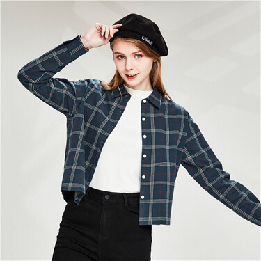 Flannel plaid short long-sleeve shirt