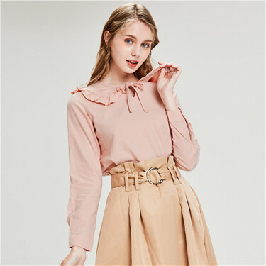 Flannel ruffled lace-up collar blouse