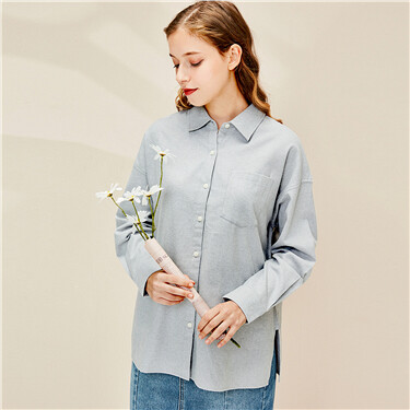 Flannel patch pocket long-sleeve shirt
