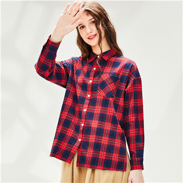 Flannel patch pocket long-slee