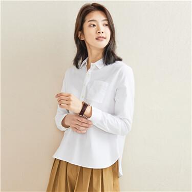 Oxford half placket long-sleeve shirt