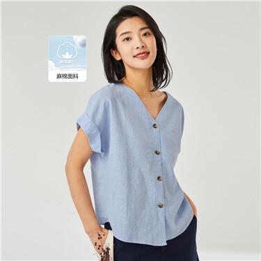 Linen-cotton loose v-neck shirt