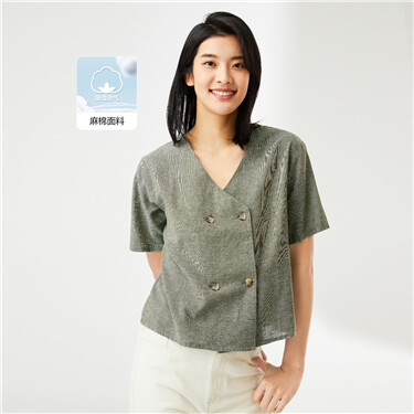 Linen-cotton double breasted v-neck shirt