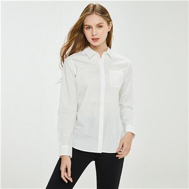 纯棉单贴袋圆下摆长袖休闲衬衫