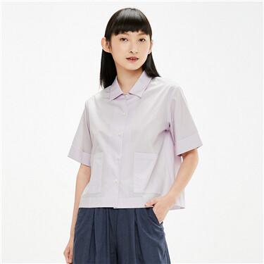 Loose big patch pockets shirt