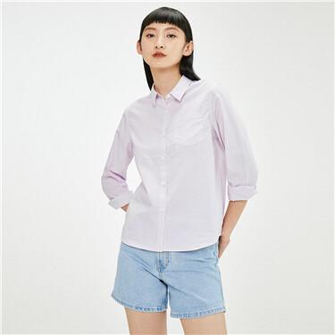 纯棉宽松单贴袋长袖休闲衬衫