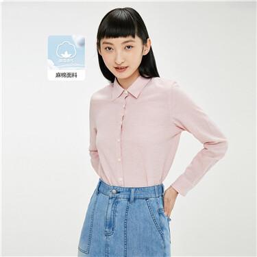 天然麻棉纯色长袖休闲衬衫