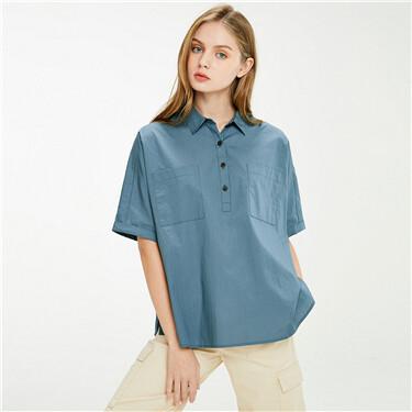 Cargo pockets half placket loose shirt