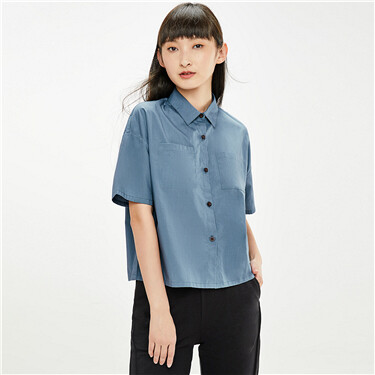 Cargo pockets loose short-sleeve shirt
