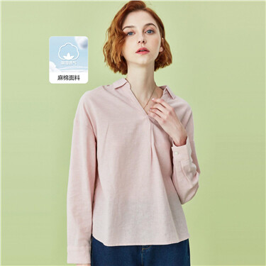 Linen-cotton v-neck turn-down collar shirt