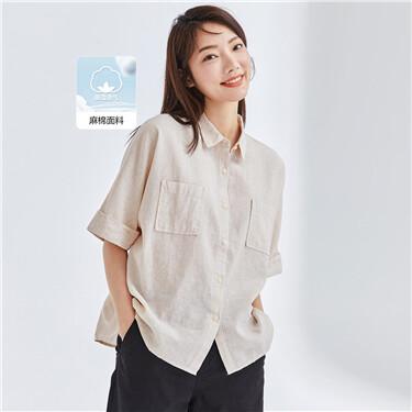天然麻棉工装宽松连肩短袖休闲衬衫
