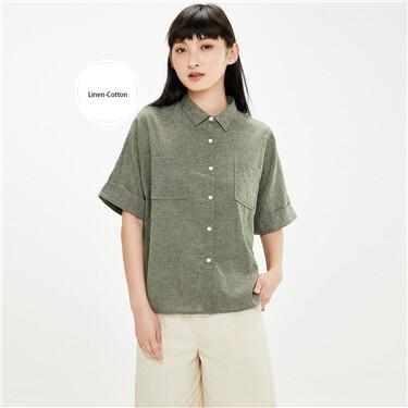 Linen-cotton cargo loose short sleeves shirt