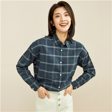 Thick flannel loose plaid shirt