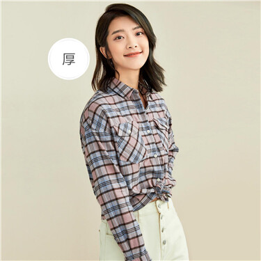 Thick flannel plaid loose long-sleeve shirt