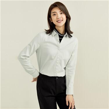 纯棉仿灯芯绒长袖休闲衬衫