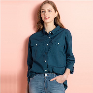 Flap pockets rollable long sleeves shirt