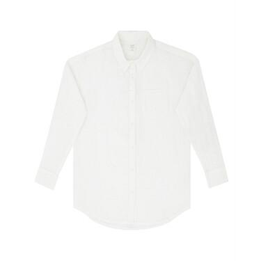 Linen acute collar long sleeve shirt