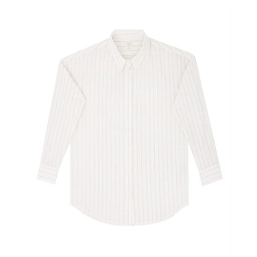 Linen acute collar long sleeve shirt