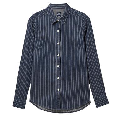 彈力棉修身牛仔長袖襯衫
