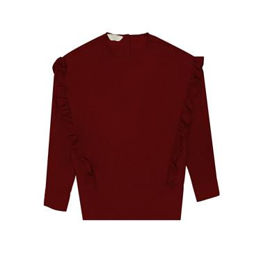 Rayon Round Neck Ruffle Shirt