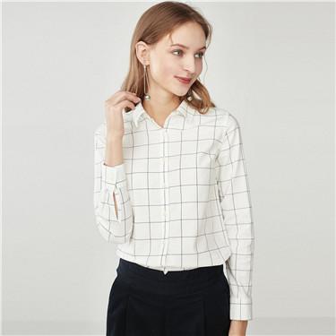 牛津紡彈力棉長袖襯衫