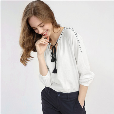 Embroidery drawstring linen cotton shirt