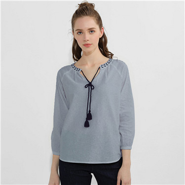Embroidery Drawstring Linen Cotton Shirts
