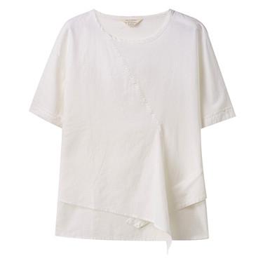 Linen Round Neck Kimono Sleeve Shirt