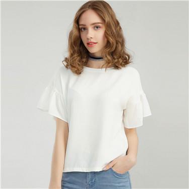 簡約純色彈力荷葉袖短袖襯衫