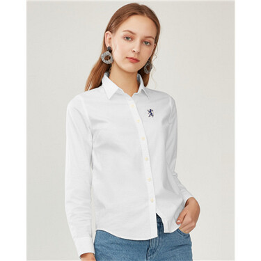 Women Oxford Shirt with Lion Embroidery