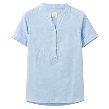 Linen-cotton V neck blouse