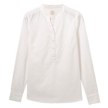 Linen-cotton V-neck shirt