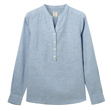 Linen-cotton V-neck shirt