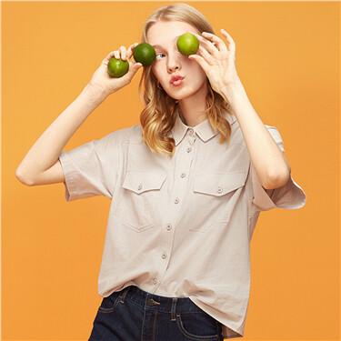 純棉雙貼袋短袖休閑襯衫