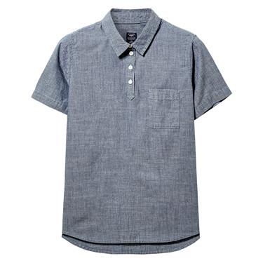 纯棉单标袋薄牛仔短袖衬衫
