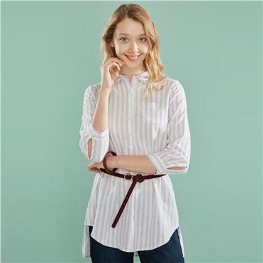 Mid-long linen-cotton shirt