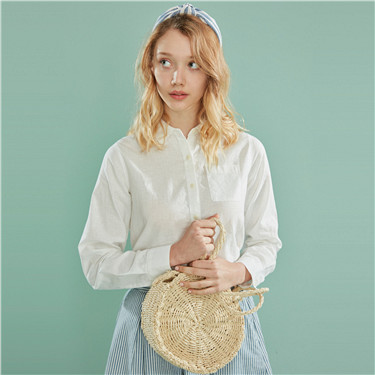 Linen-cotton pocket shirt