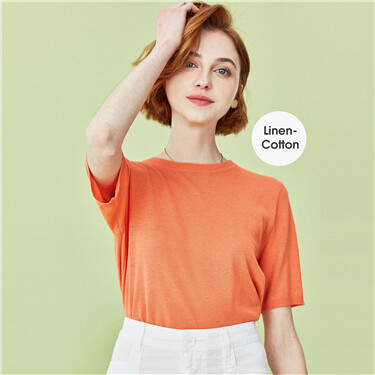 Linen-cotton crewneck short-sleeve knitted wear