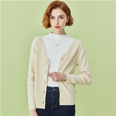 French V-neck long-sleeve cardigan