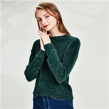 Chenille dropped-shoulder sweater