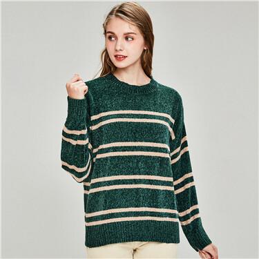 Chenille stripe crewneck sweater