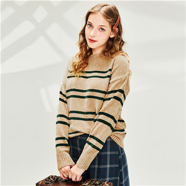 Chenille stripe crewneck sweater