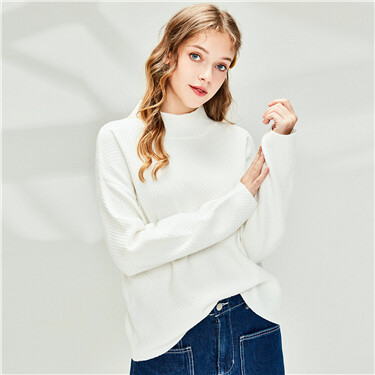 Thick plain dropped-shoulder turtleneck sweater