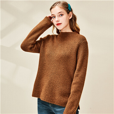 Plain mockneck pullover sweater