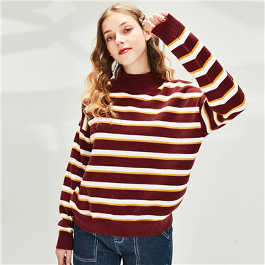 Thick stripe dropped-shoulder turtleneck sweater