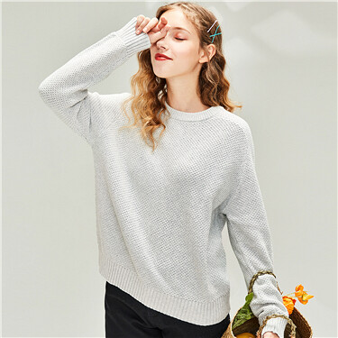 Thick horn sleeves crewneck sweater