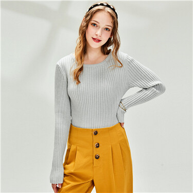 Thick slim plain crewneck sweater