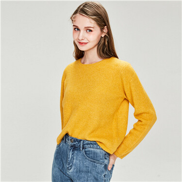 Thick plain o-neck sweater